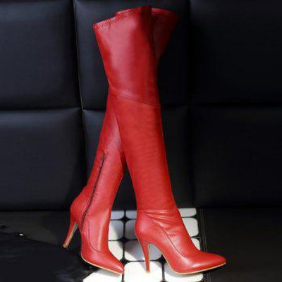 Stylish Pointed Toe and Stiletto Heel Design Women's Thigh Boots