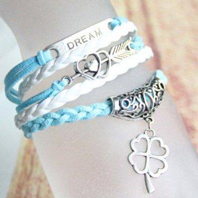 Heart Love Arrow Clover Strand Bracelet