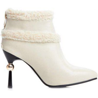 Zipper Pointed Toe Splicing Ankle Boots