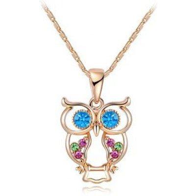 Owl Artificial Crystal Pendant Necklace