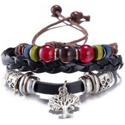 PU Leather Life Tree Charm Bracelet