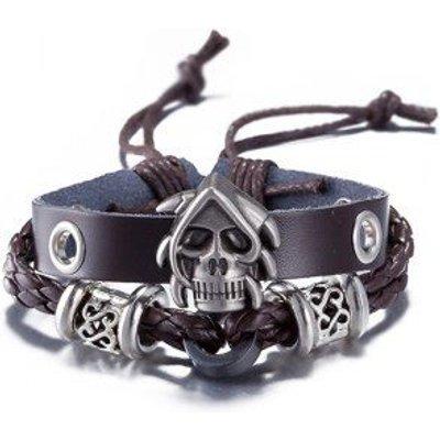 PU Leather Woven Devil Skull Bracelet