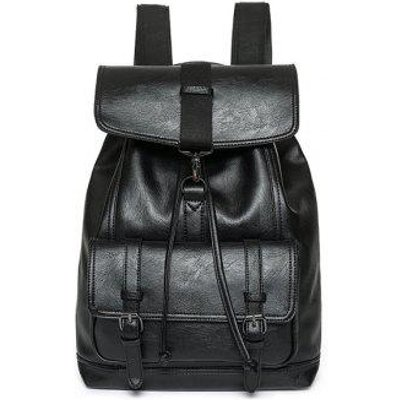 Buckle Strap Flap Drawstring Backpack