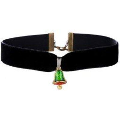 Enamel Bell Velvet Wide Choker Necklace