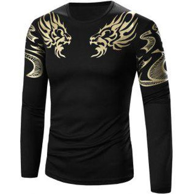 Slimming Golden Totem Pattern Long Sleeve T-Shirt