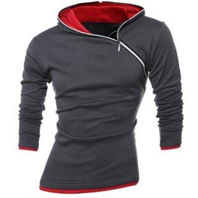Slim-Fit Side Zip Design Pullover Hoodie