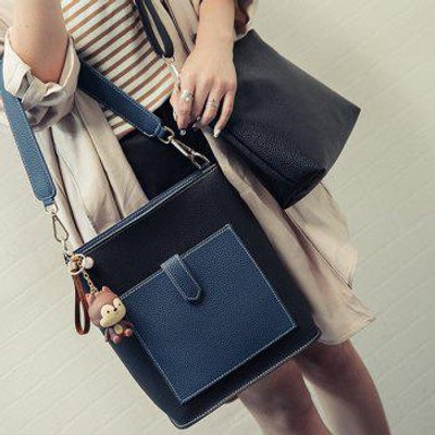Magnetic Closure Color Spliced Textured Leather Shoulder Bag