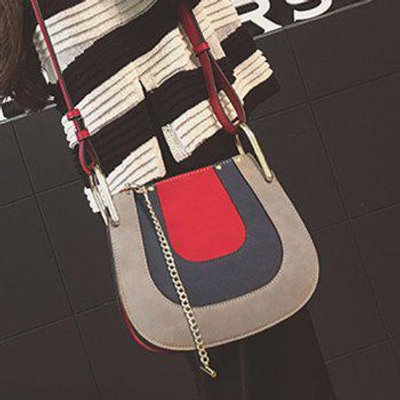 Metal Chains Color Block Crossbody Bag