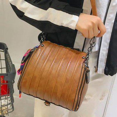 Multi Zips PU Leather Scarves Crossbody Bag