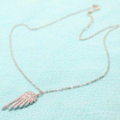 Rhinestone Angel Wing Embellished Pendant Necklace