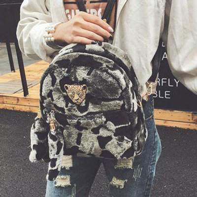 Metallic Embellished Faux Fur Backpack