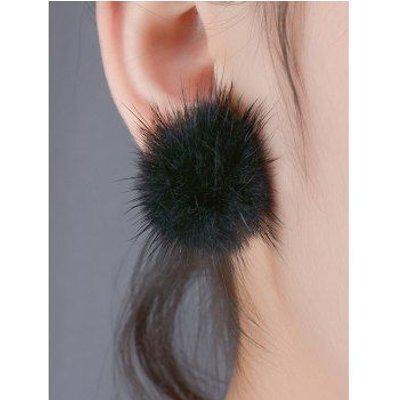 Flannelette Ball Adorn Stud Earrings