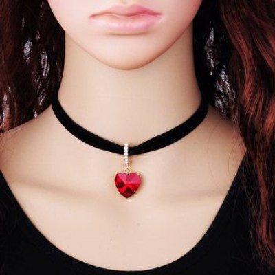 Heart Pendant Rhinestone Velvet Choker Necklace