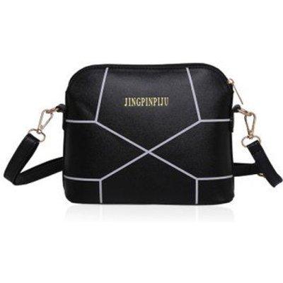 Letter Geometric Print PU Leather Crossbody Bag