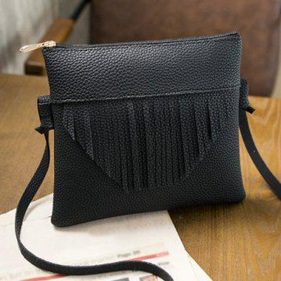Textured PU Fringe Cross Body Bag