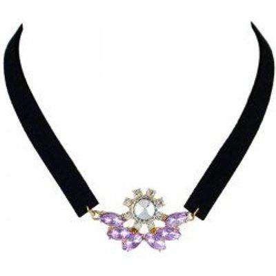 Faux Crystal Velvet Choker Necklace