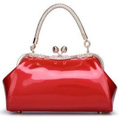 Vintage Metal Trimmed Patent Leather Handbag