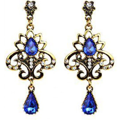 Water Drop Fake Gem Hollowed Earrings