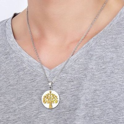 Polished Stainless Steel Tree Pendant Necklace