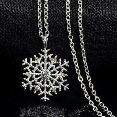 Rhinestoned Snowflake Pendant Necklace