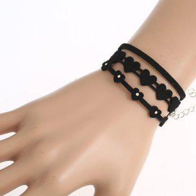 PU Leather Heart Velvet Bracelet