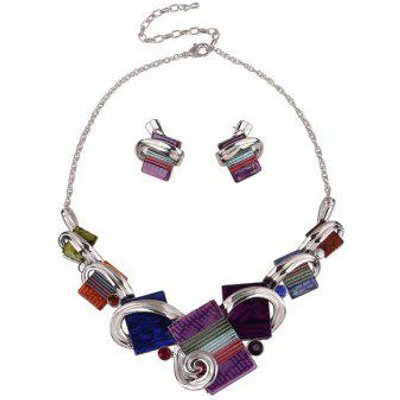 Punk Rectangle Shape Necklace and Earrings