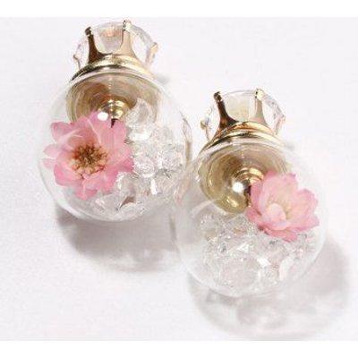 Double End Flower Glass Ball Earrings
