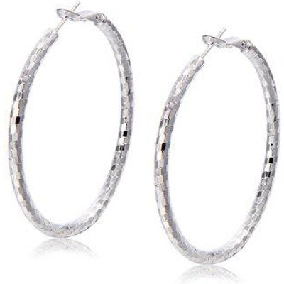 Plaid Large Round Hoop Earrings
