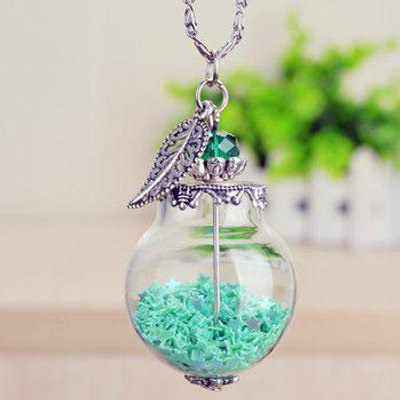 Leaf Star Glass Ball Pendant Necklace