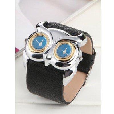 Waterproof Owl Irregular Double Dial Watch