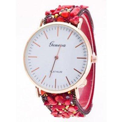 Faux Suede Stone Studded Bracelet Watch