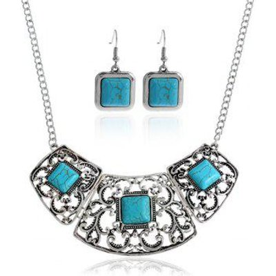 Hollow Out Floral Faux Turquoise Jewelry Set