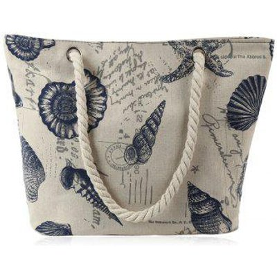 Seashell Printed Beach Bag
