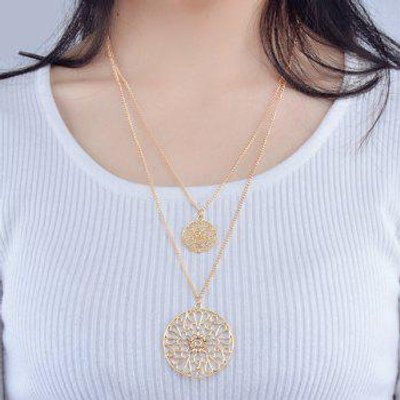 Hollow Out Alloy Carving Ethnic Necklace