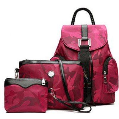 Canva Drawstring Camo Pattern Backpack Set