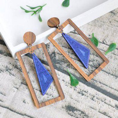 Rectangle Triangle Vintage Wooden Drop Earrings
