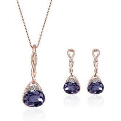 Rhinestone Artificial Amethyst Oval Jewelry Set