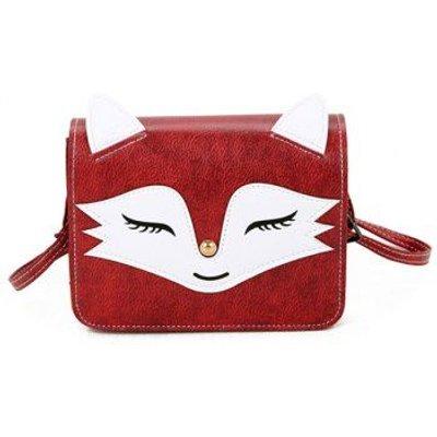 Fox Pattern PU Leather Crossbody Bag