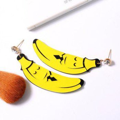 Banana Cartoon Shape Rhinestone Earrings