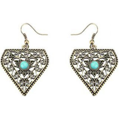 Geometrical Faux Turquoise Boho Hollow Out Earrings