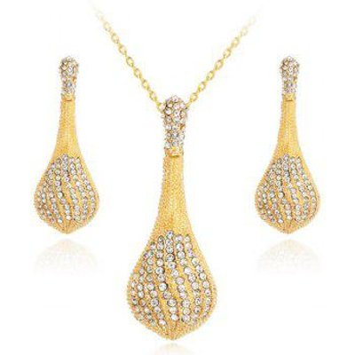 Rhinestone Pendant Necklace with Earrings Set