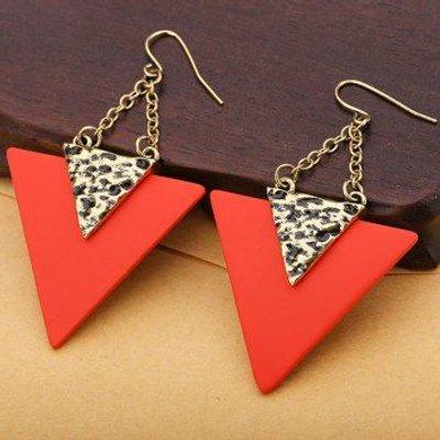 Metal Engraving Triangle Pendant Hook Earrings