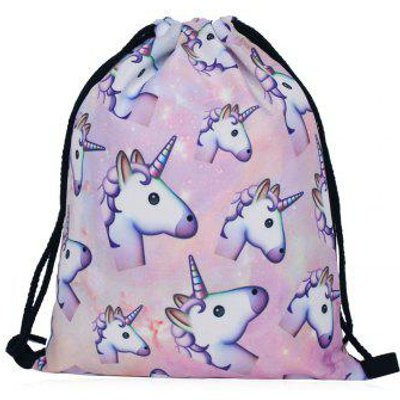 Unicorn Printed Drawstring Backpack