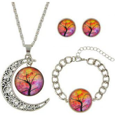 Moon Round Tree of Life Jewelry Set