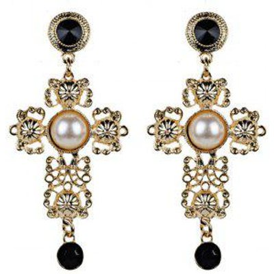Faux Pearl Filigree Cross Earrings