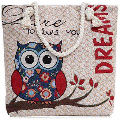 Cartoon Owl Jacquard Canvas Beach Bag