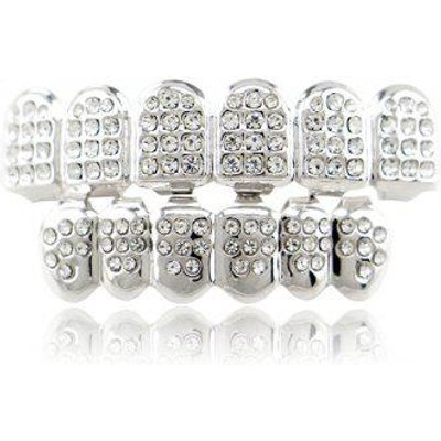 Hip Hop Top Bottom Rhinestone Teeth Grillz Set