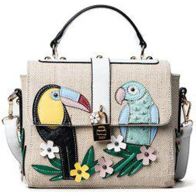 Flower and Parrot Patches  Weave Crossbody Bag