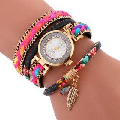 Braided Chain Layered Charm Bracelet Watch