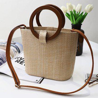 Round Handle Weave Handbag